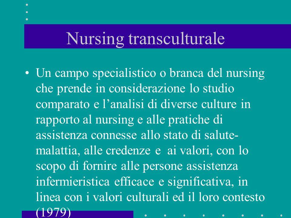 Nursing transculturale Un campo specialistico o branca del nursing che prende in considerazione lo studio comparato e l'analisi di diverse culture in