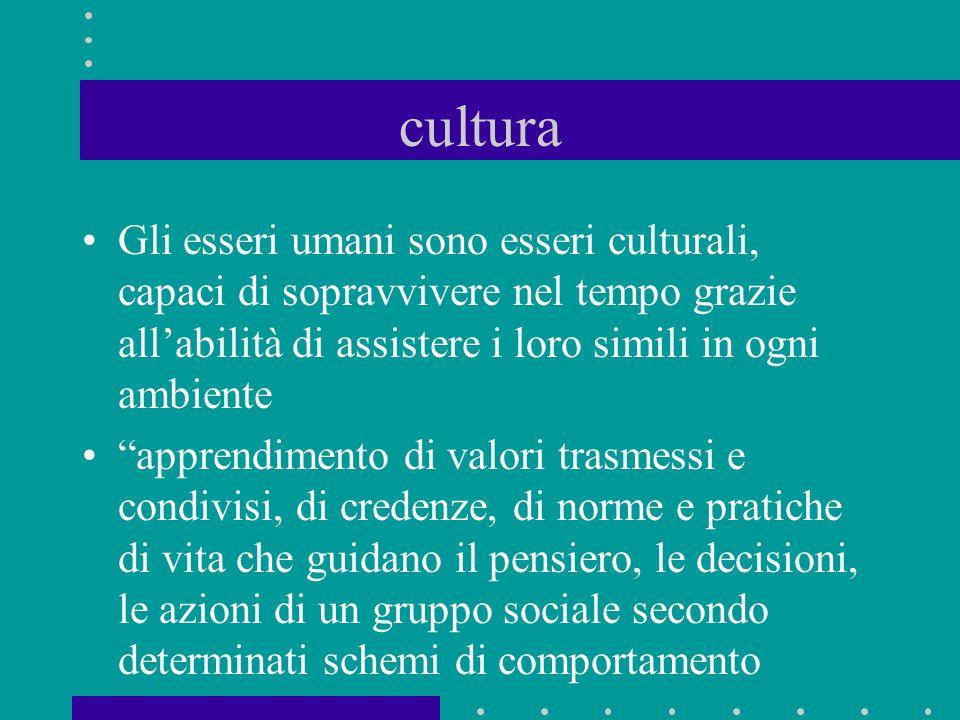 """cultura Gli esseri umani sono esseri culturali, capaci di sopravvivere nel tempo grazie all'abilità di assistere i loro simili in ogni ambiente """"appre"""