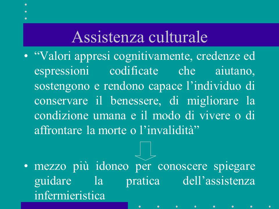 """Assistenza culturale """"Valori appresi cognitivamente, credenze ed espressioni codificate che aiutano, sostengono e rendono capace l'individuo di conser"""