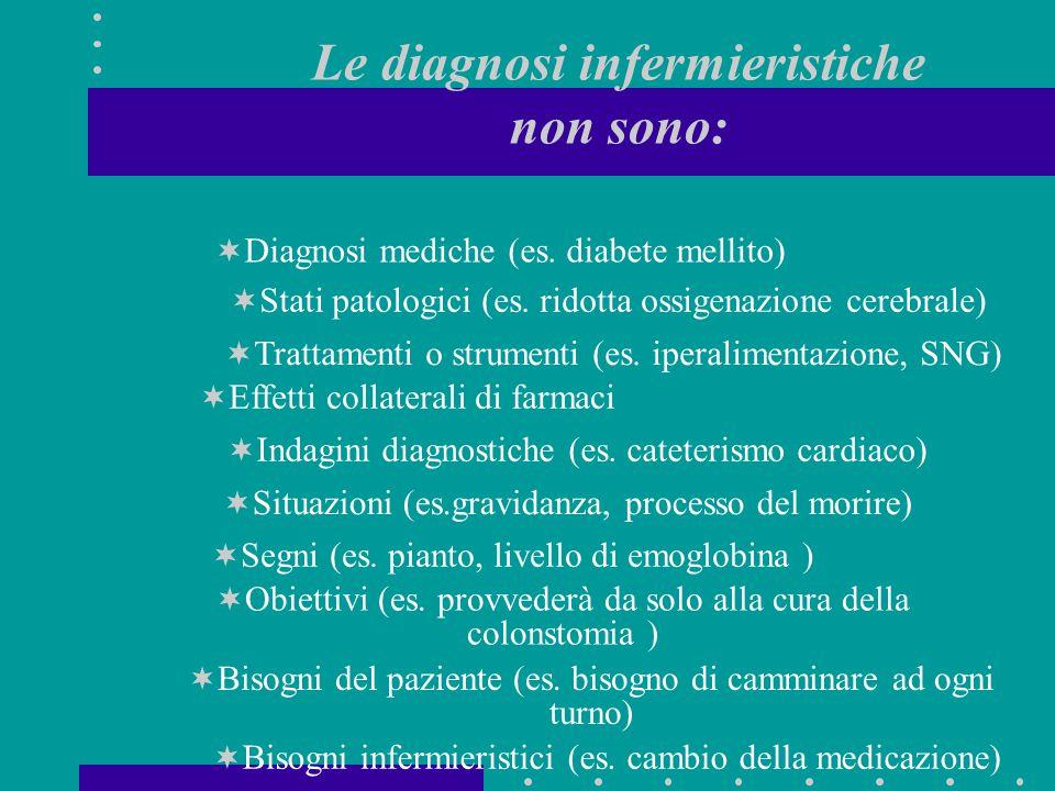 Le diagnosi infermieristiche non sono:  Diagnosi mediche (es. diabete mellito)  Stati patologici (es. ridotta ossigenazione cerebrale)  Trattamenti