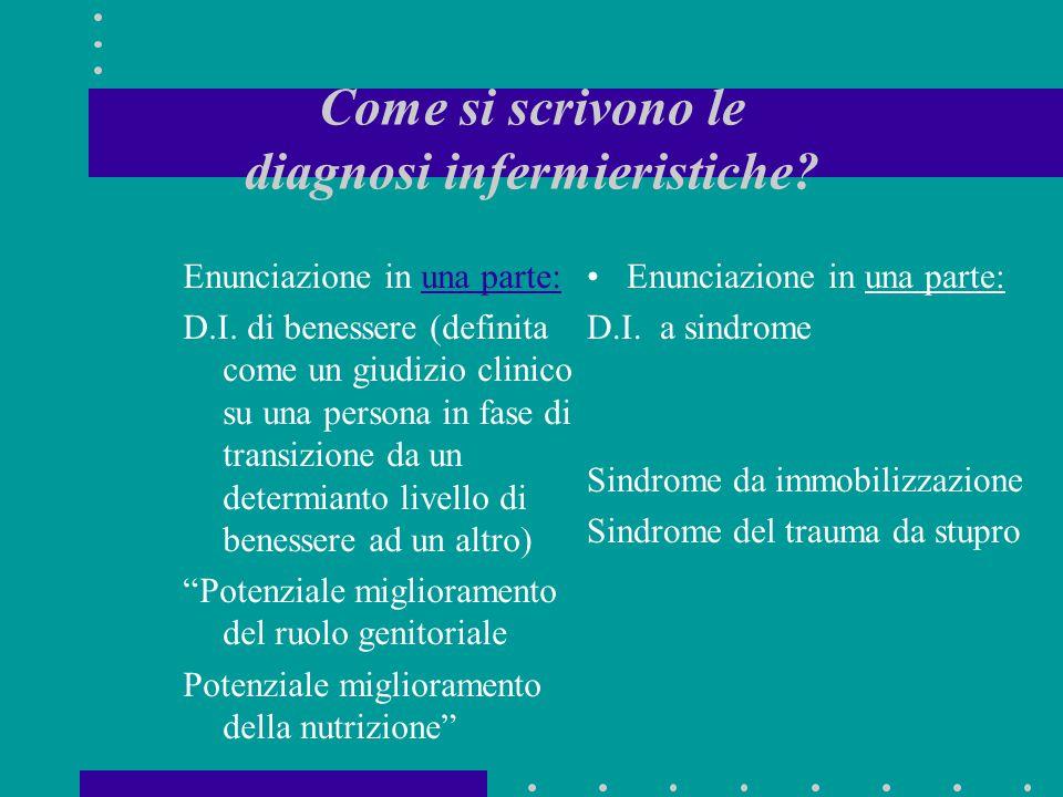 Come si scrivono le diagnosi infermieristiche? Enunciazione in una parte:una parte: D.I. di benessere (definita come un giudizio clinico su una person