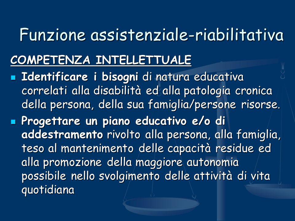 Funzione assistenziale-riabilitativa COMPETENZA INTELLETTUALE Identificare i bisogni di natura educativa correlati alla disabilità ed alla patologia c