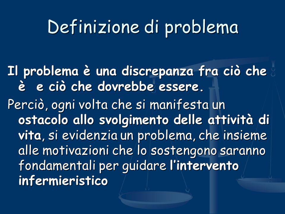 Definizione di problema Il problema è una discrepanza fra ciò che è e ciò che dovrebbe essere. Perciò, ogni volta che si manifesta un ostacolo allo sv
