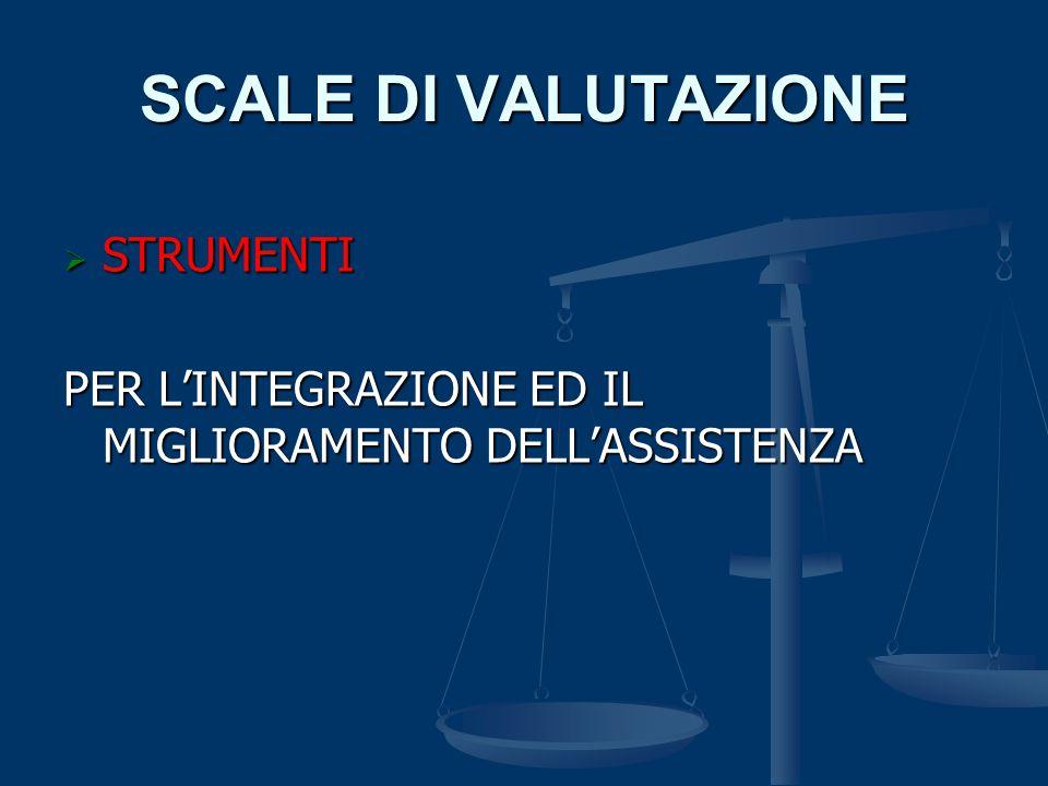 SCALE DI VALUTAZIONE  STRUMENTI PER L'INTEGRAZIONE ED IL MIGLIORAMENTO DELL'ASSISTENZA