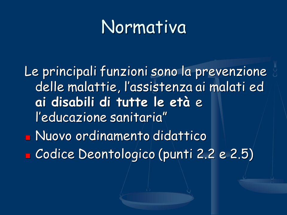 """Normativa Le principali funzioni sono la prevenzione delle malattie, l'assistenza ai malati ed ai disabili di tutte le età e l'educazione sanitaria"""" N"""