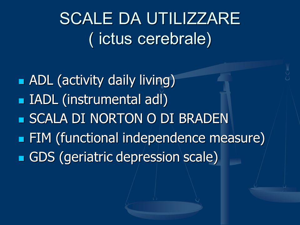 SCALE DA UTILIZZARE ( ictus cerebrale) ADL (activity daily living) ADL (activity daily living) IADL (instrumental adl) IADL (instrumental adl) SCALA D