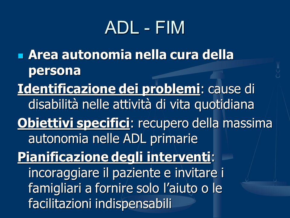 ADL - FIM Area autonomia nella cura della persona Area autonomia nella cura della persona Identificazione dei problemi: cause di disabilità nelle atti