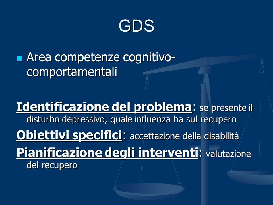 GDS Area competenze cognitivo- comportamentali Area competenze cognitivo- comportamentali Identificazione del problema: se presente il disturbo depres