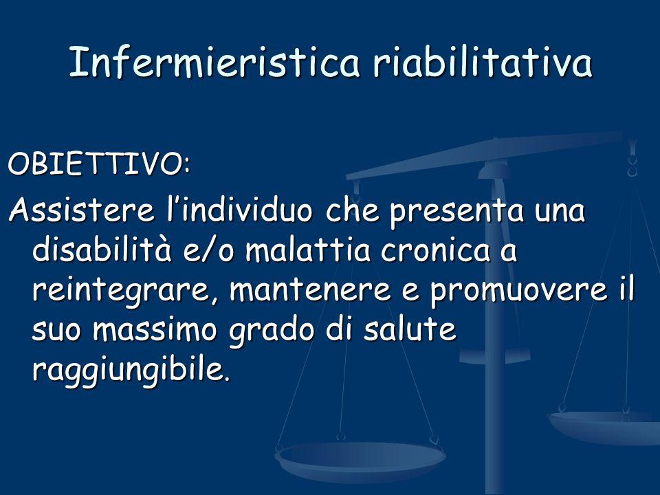 Infermieristica riabilitativa OBIETTIVO: Assistere l'individuo che presenta una disabilità e/o malattia cronica a reintegrare, mantenere e promuovere