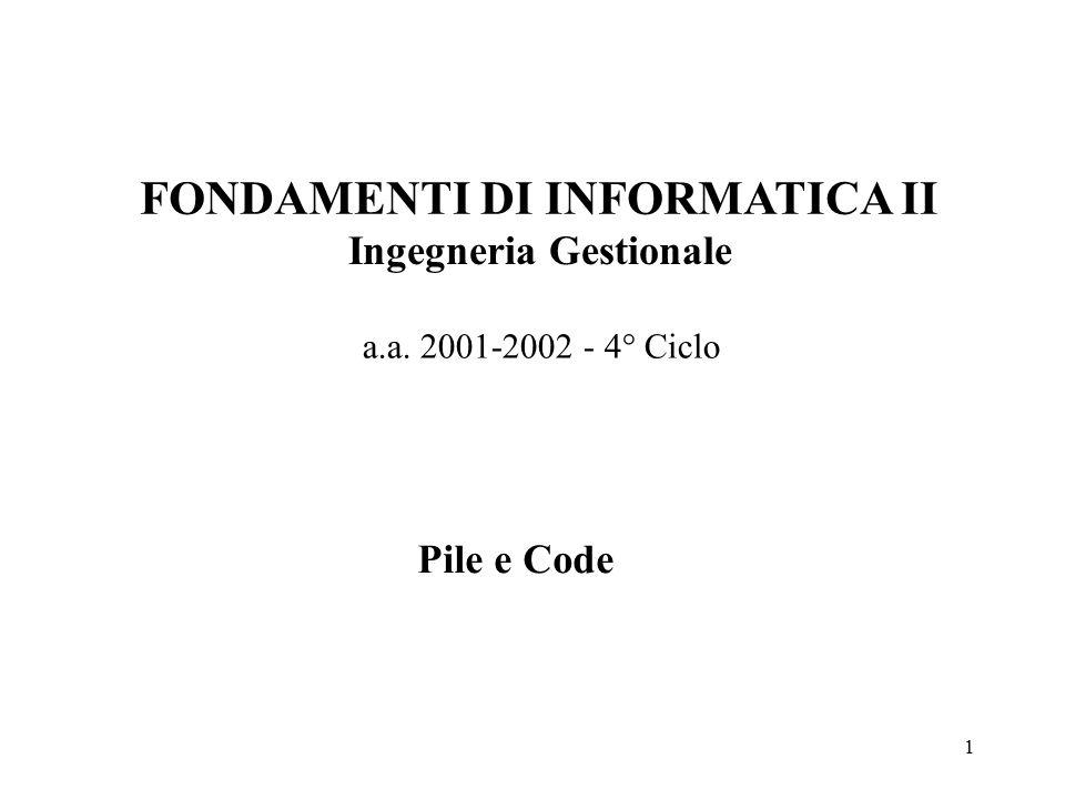 1 FONDAMENTI DI INFORMATICA II Ingegneria Gestionale a.a. 2001-2002 - 4° Ciclo Pile e Code