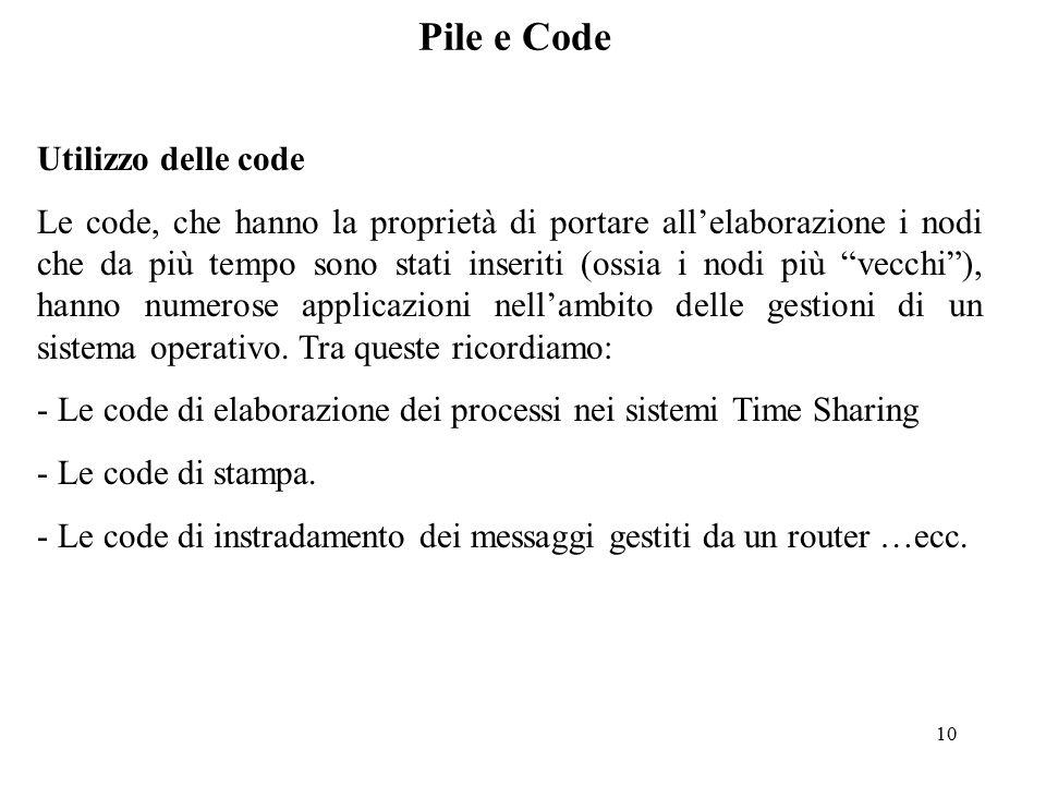 10 Pile e Code Utilizzo delle code Le code, che hanno la proprietà di portare all'elaborazione i nodi che da più tempo sono stati inseriti (ossia i nodi più vecchi ), hanno numerose applicazioni nell'ambito delle gestioni di un sistema operativo.
