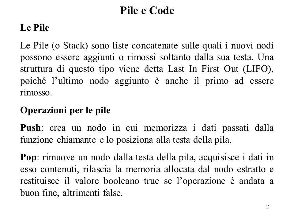 2 Le Pile Le Pile (o Stack) sono liste concatenate sulle quali i nuovi nodi possono essere aggiunti o rimossi soltanto dalla sua testa.