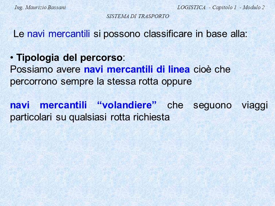 Ing. Maurizio Bassani LOGISTICA - Capitolo 1 - Modulo 2 SISTEMA DI TRASPORTO Le navi mercantili si possono classificare in base alla: Tipologia del pe