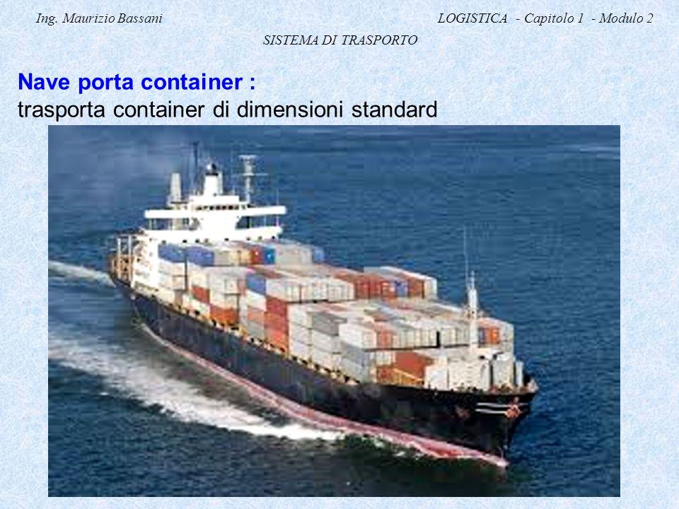 Ing. Maurizio Bassani LOGISTICA - Capitolo 1 - Modulo 2 SISTEMA DI TRASPORTO Nave porta container : trasporta container di dimensioni standard