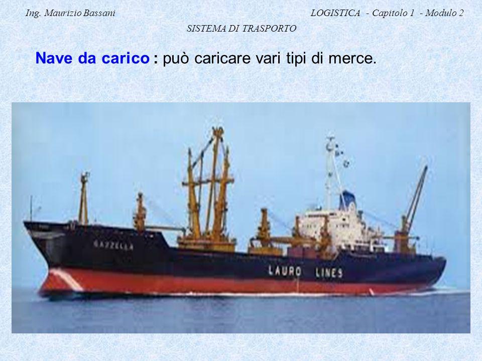 Ing. Maurizio Bassani LOGISTICA - Capitolo 1 - Modulo 2 SISTEMA DI TRASPORTO Nave da carico : può caricare vari tipi di merce.