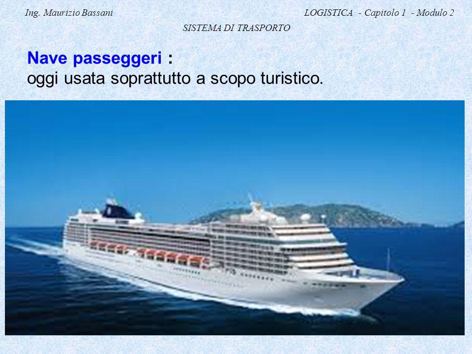 Ing. Maurizio Bassani LOGISTICA - Capitolo 1 - Modulo 2 SISTEMA DI TRASPORTO Nave passeggeri : oggi usata soprattutto a scopo turistico.