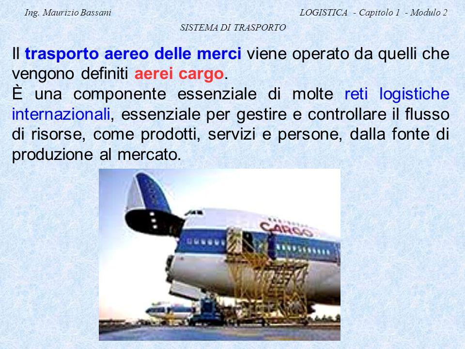 Ing. Maurizio Bassani LOGISTICA - Capitolo 1 - Modulo 2 SISTEMA DI TRASPORTO Il trasporto aereo delle merci viene operato da quelli che vengono defini