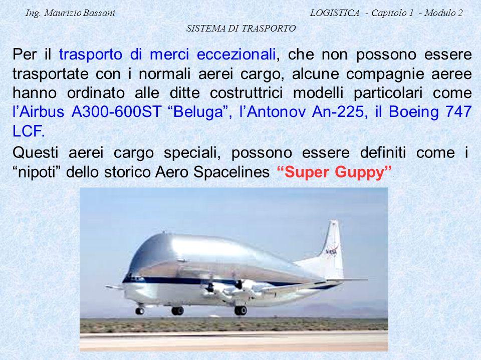 Ing. Maurizio Bassani LOGISTICA - Capitolo 1 - Modulo 2 SISTEMA DI TRASPORTO Per il trasporto di merci eccezionali, che non possono essere trasportate