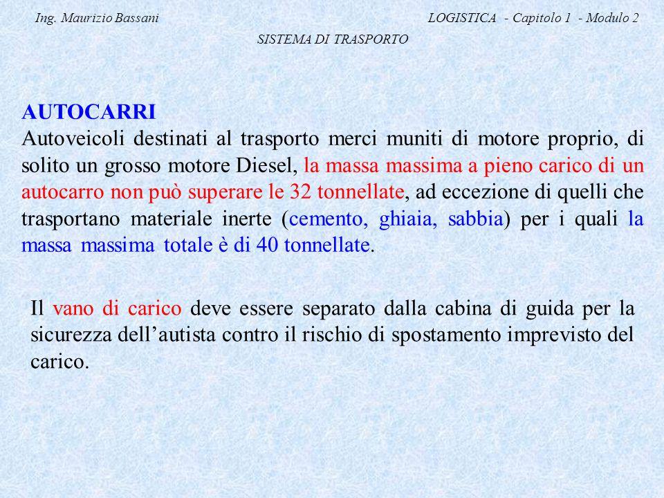 Ing. Maurizio Bassani LOGISTICA - Capitolo 1 - Modulo 2 SISTEMA DI TRASPORTO AUTOCARRI Autoveicoli destinati al trasporto merci muniti di motore propr