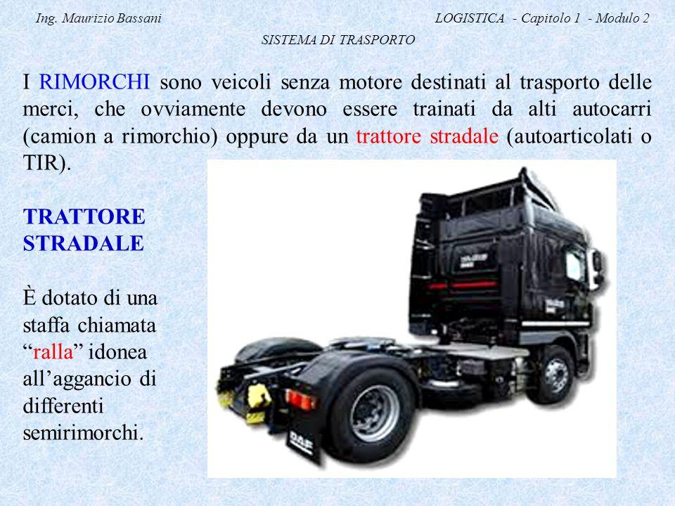 Ing. Maurizio Bassani LOGISTICA - Capitolo 1 - Modulo 2 SISTEMA DI TRASPORTO I RIMORCHI sono veicoli senza motore destinati al trasporto delle merci,