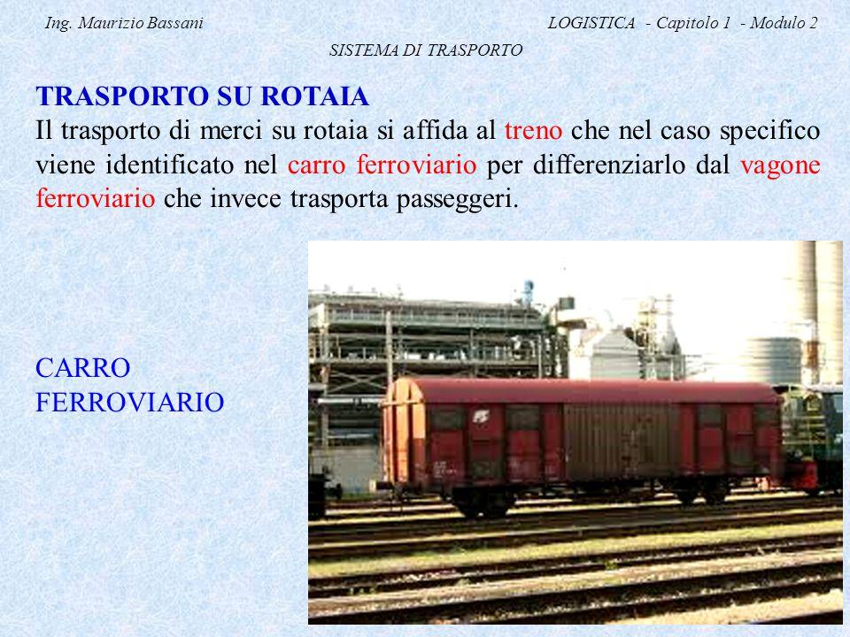 Ing. Maurizio Bassani LOGISTICA - Capitolo 1 - Modulo 2 SISTEMA DI TRASPORTO TRASPORTO SU ROTAIA Il trasporto di merci su rotaia si affida al treno ch