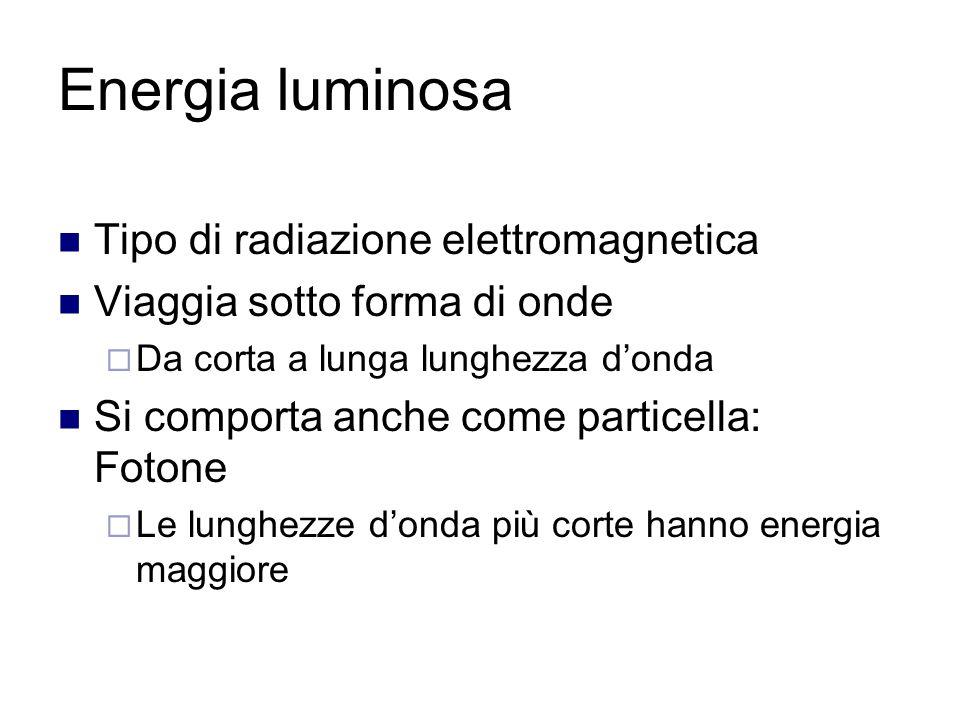 Energia luminosa Tipo di radiazione elettromagnetica Viaggia sotto forma di onde  Da corta a lunga lunghezza d'onda Si comporta anche come particella: Fotone  Le lunghezze d'onda più corte hanno energia maggiore
