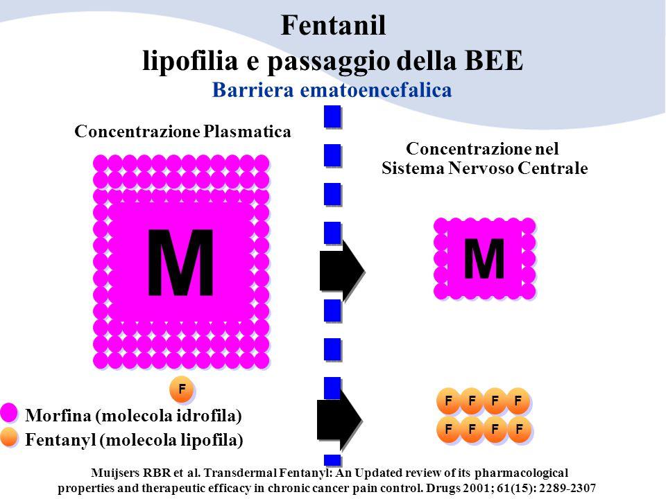Concentrazione Plasmatica Barriera ematoencefalica Concentrazione nel Sistema Nervoso Centrale M M F Fentanyl (molecola lipofila) Morfina (molecola id