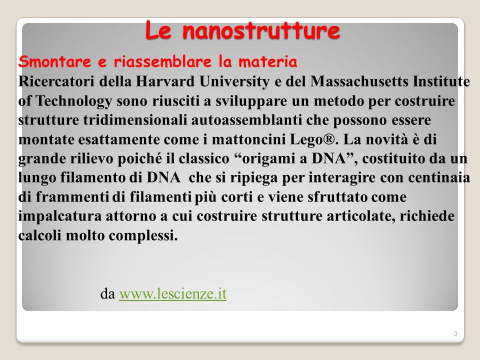 Le nanostrutture da www.lescienze.itwww.lescienze.it Smontare e riassemblare la materia Ricercatori della Harvard University e del Massachusetts Insti