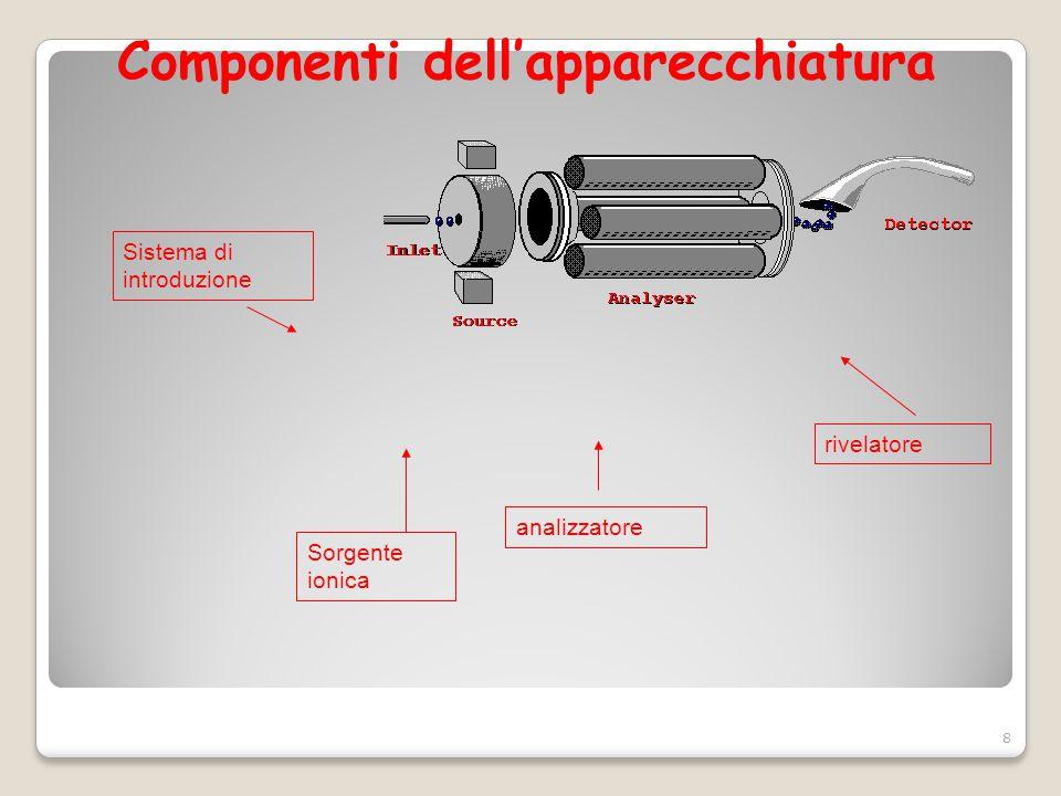 Componenti dell'apparecchiatura Sistema di introduzione Sorgente ionica analizzatore rivelatore 8