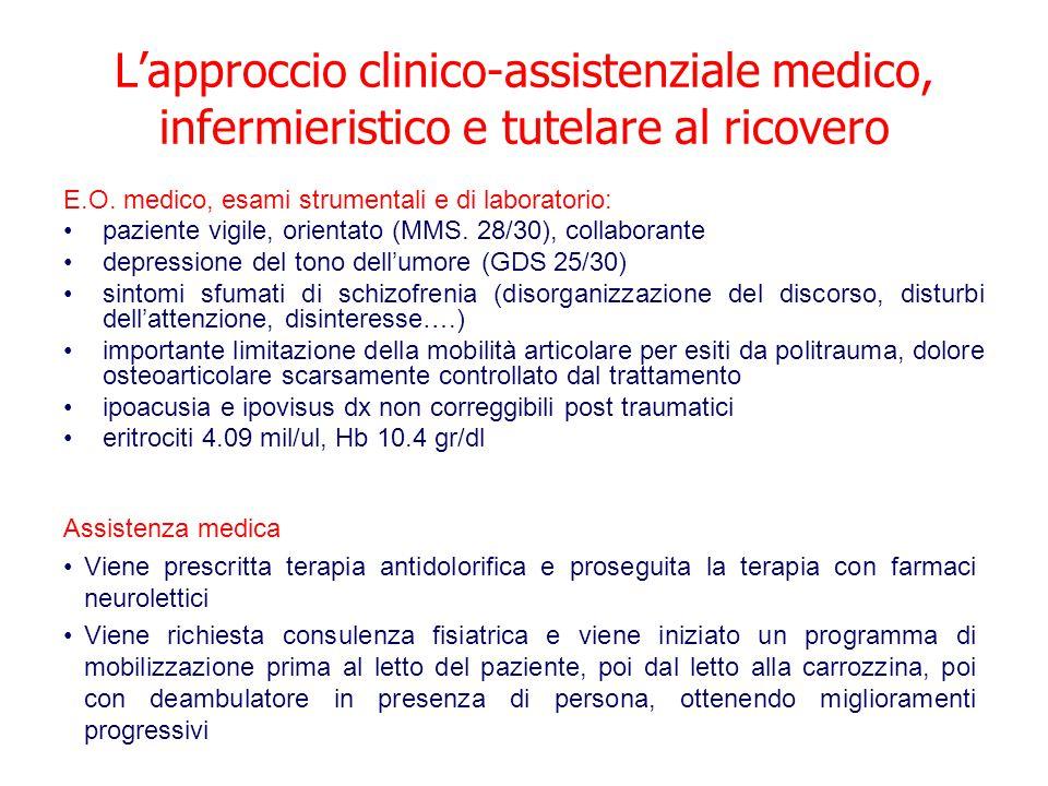 L'approccio clinico-assistenziale medico, infermieristico e tutelare al ricovero E.O.