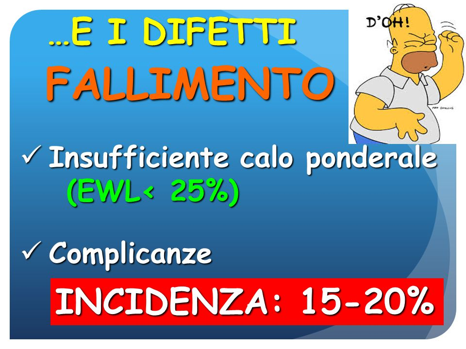 BPD < 5% BYPASS 12% SLEEVE 15-20% (BMI>50) BAND 20-30% GASTROPL VERTICALE >50% REVISIONE CHIRURGICA PER FALLIMENTO