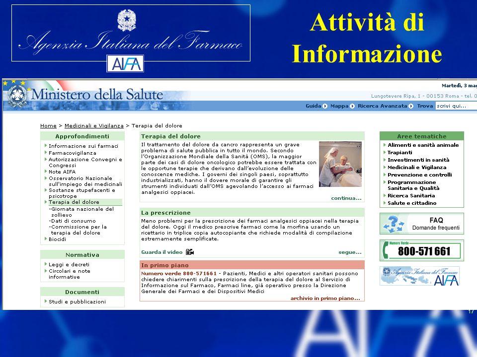 Agenzia Italiana del Farmaco 17 Attività di Informazione