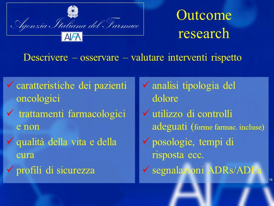 Agenzia Italiana del Farmaco 19 Outcome research caratteristiche dei pazienti oncologici trattamenti farmacologici e non qualità della vita e della cu