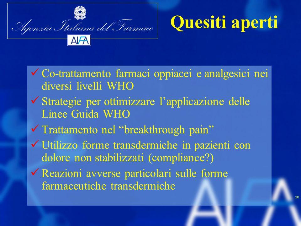 Agenzia Italiana del Farmaco 20 Co-trattamento farmaci oppiacei e analgesici nei diversi livelli WHO Strategie per ottimizzare l'applicazione delle Li