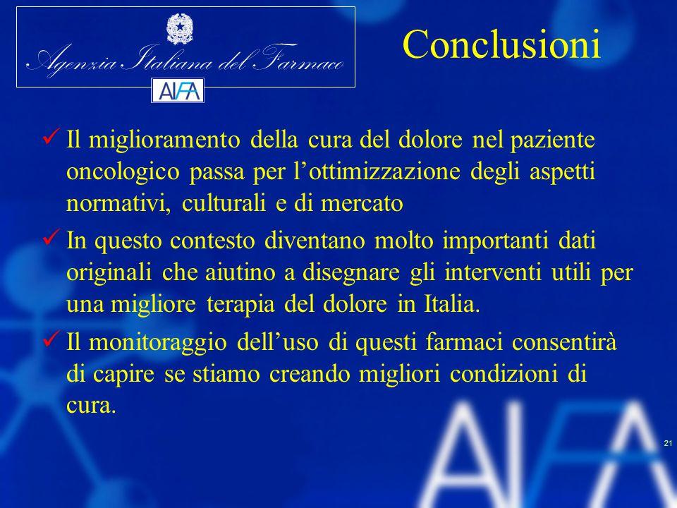 Agenzia Italiana del Farmaco 21 Conclusioni Il miglioramento della cura del dolore nel paziente oncologico passa per l'ottimizzazione degli aspetti no