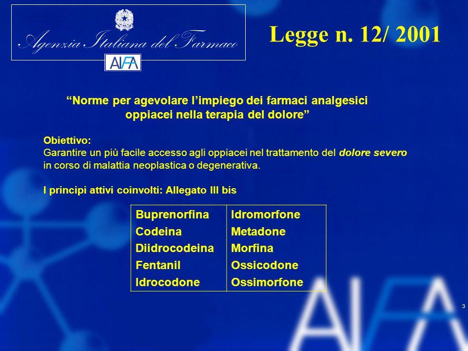 """Agenzia Italiana del Farmaco 3 """"Norme per agevolare l'impiego dei farmaci analgesici oppiacei nella terapia del dolore"""" Obiettivo: Garantire un più fa"""