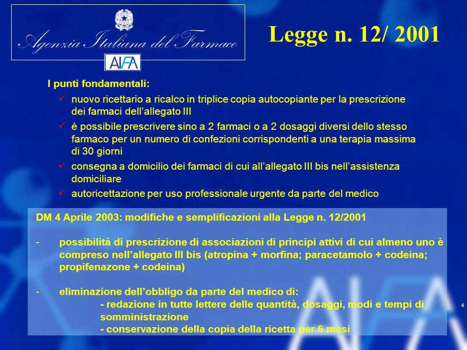 Agenzia Italiana del Farmaco 4 I punti fondamentali: nuovo ricettario a ricalco in triplice copia autocopiante per la prescrizione dei farmaci dell'al