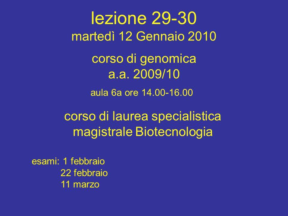 corso di laurea specialistica magistrale Biotecnologia aula 6a ore 14.00-16.00 corso di genomica a.a. 2009/10 esami: 1 febbraio 22 febbraio 11 marzo l