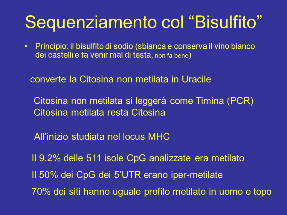 """Sequenziamento col """"Bisulfito"""" Principio: il bisulfito di sodio (sbianca e conserva il vino bianco dei castelli e fa venir mal di testa, non fa bene )"""