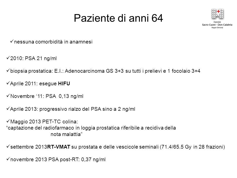 Paziente di anni 64 nessuna comorbidità in anamnesi 2010: PSA 21 ng/ml biopsia prostatica: E.I.: Adenocarcinoma GS 3+3 su tutti i prelievi e 1 focolaio 3+4 Aprile 2011: esegue HIFU Novembre '11: PSA 0,13 ng/ml Aprile 2013: progressivo rialzo del PSA sino a 2 ng/ml Maggio 2013 PET-TC colina: captazione del radiofarmaco in loggia prostatica riferibile a recidiva della nota malattia settembre 2013RT-VMAT su prostata e delle vescicole seminali (71.4/65.5 Gy in 28 frazioni) novembre 2013 PSA post-RT: 0,37 ng/ml