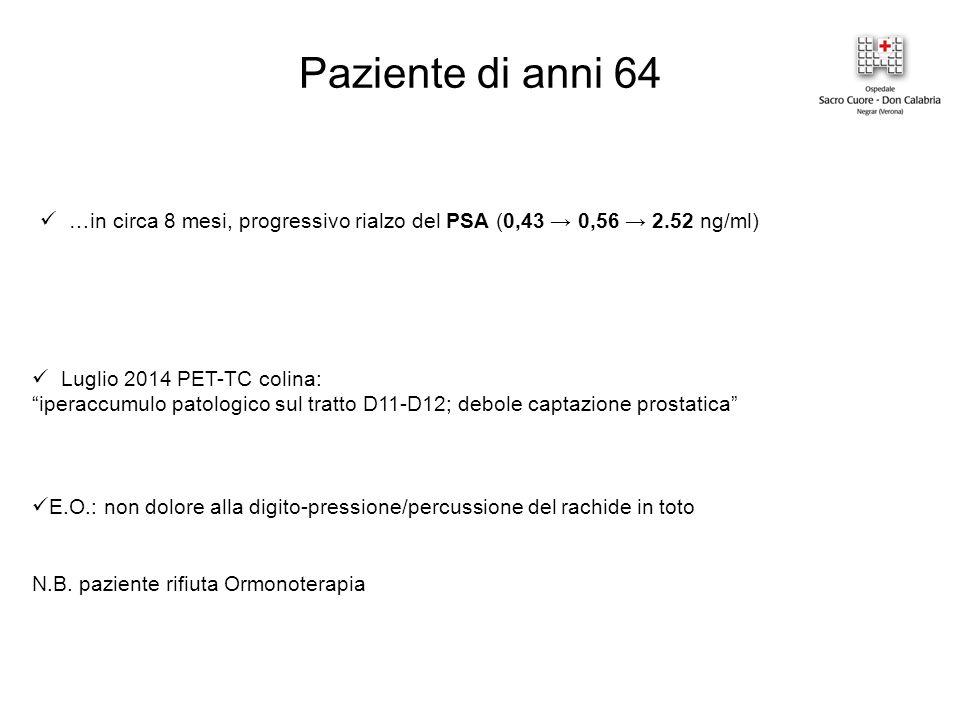 Paziente di anni 64 …in circa 8 mesi, progressivo rialzo del PSA (0,43 → 0,56 → 2.52 ng/ml) Luglio 2014 PET-TC colina: iperaccumulo patologico sul tratto D11-D12; debole captazione prostatica E.O.: non dolore alla digito-pressione/percussione del rachide in toto N.B.