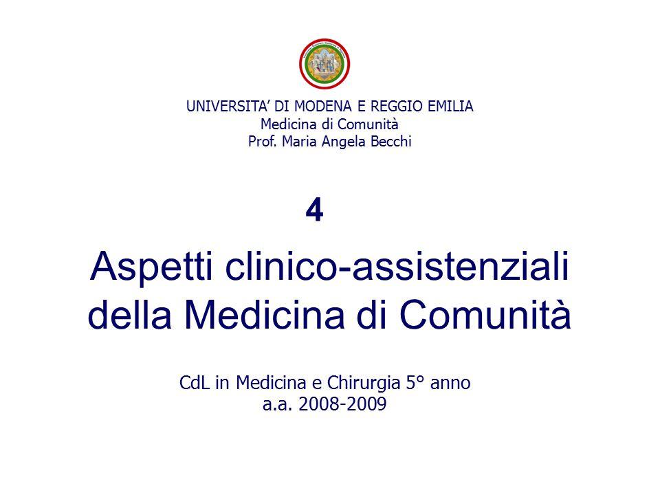 UNIVERSITA' DI MODENA E REGGIO EMILIA Medicina di Comunità Prof. Maria Angela Becchi Aspetti clinico-assistenziali della Medicina di Comunità CdL in M