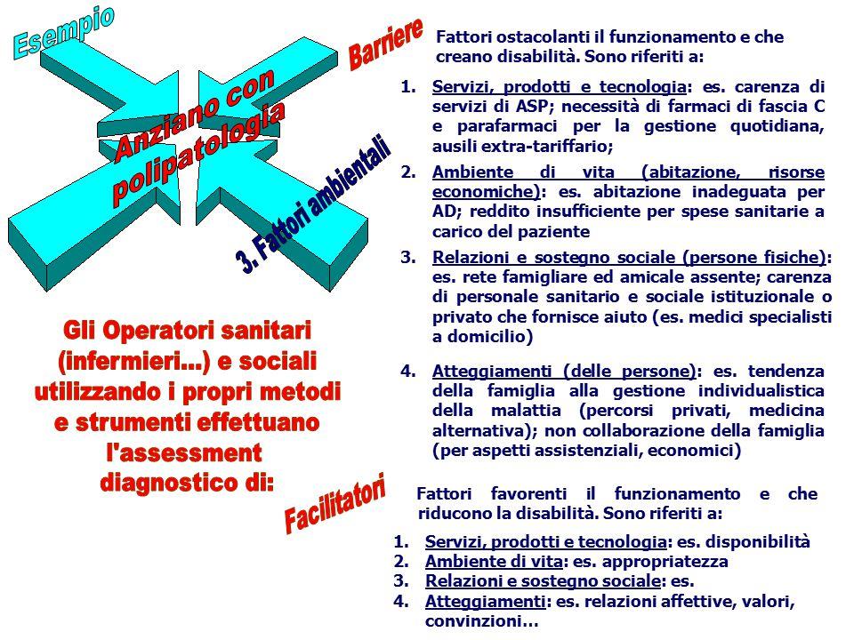 1.Servizi, prodotti e tecnologia: es. carenza di servizi di ASP; necessità di farmaci di fascia C e parafarmaci per la gestione quotidiana, ausili ext