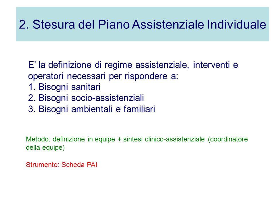 2. Stesura del Piano Assistenziale Individuale E' la definizione di regime assistenziale, interventi e operatori necessari per rispondere a: 1.Bisogni