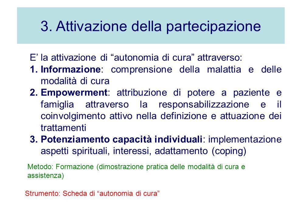 """3. Attivazione della partecipazione E' la attivazione di """"autonomia di cura"""" attraverso: 1.Informazione: comprensione della malattia e delle modalità"""