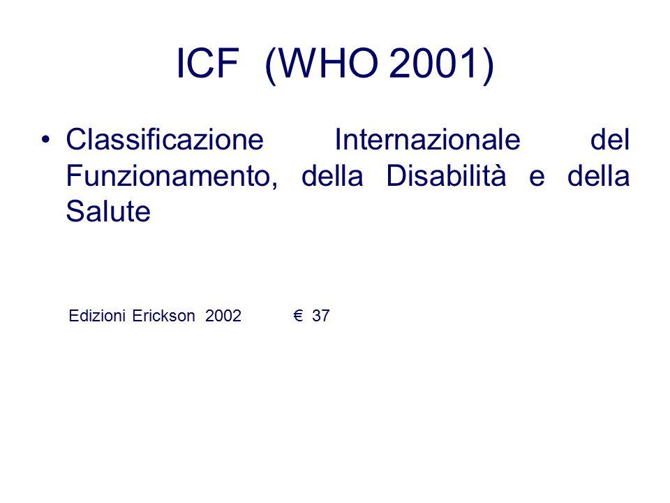 ICF (WHO 2001) Classificazione Internazionale del Funzionamento, della Disabilità e della Salute Edizioni Erickson 2002 € 37