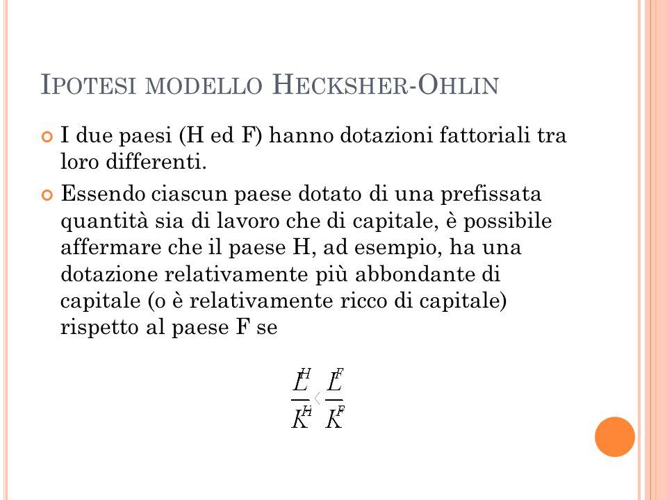 I POTESI MODELLO H ECKSHER -O HLIN I due paesi (H ed F) hanno dotazioni fattoriali tra loro differenti.