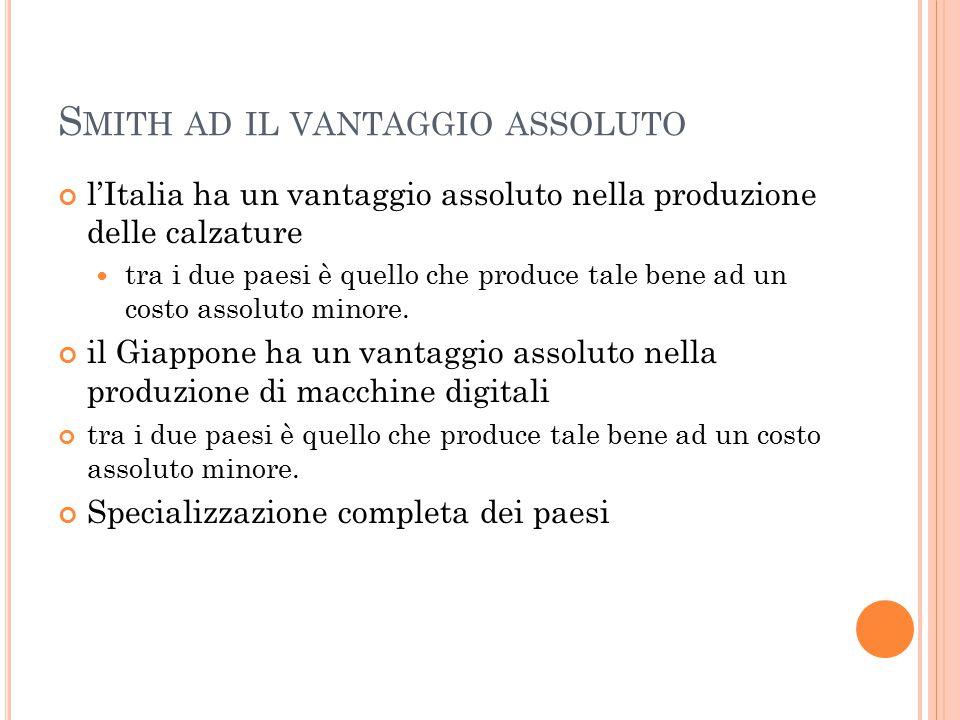 S MITH AD IL VANTAGGIO ASSOLUTO l'Italia ha un vantaggio assoluto nella produzione delle calzature tra i due paesi è quello che produce tale bene ad un costo assoluto minore.