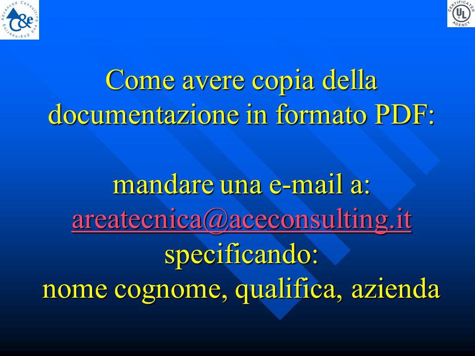 Come avere copia della documentazione in formato PDF: mandare una e-mail a: areatecnica@aceconsulting.it specificando: nome cognome, qualifica, azienda areatecnica@aceconsulting.it