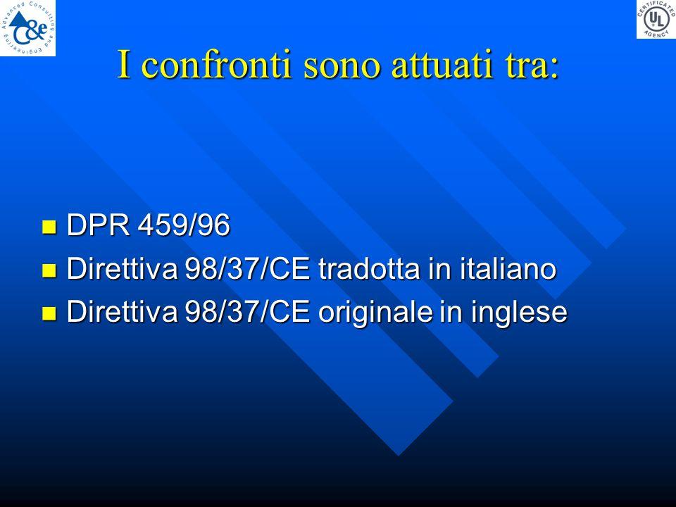 I confronti sono attuati tra: DPR 459/96 DPR 459/96 Direttiva 98/37/CE tradotta in italiano Direttiva 98/37/CE tradotta in italiano Direttiva 98/37/CE originale in inglese Direttiva 98/37/CE originale in inglese